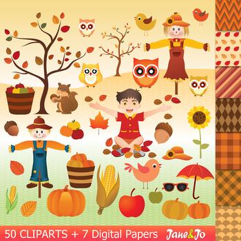 Autumn clipart fall clipart autumn paper pumpkin squirrel