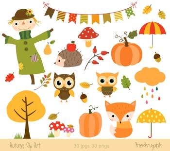 Autumn clipart set, Fall clipart, Harvest, Scarecrow, Fox,