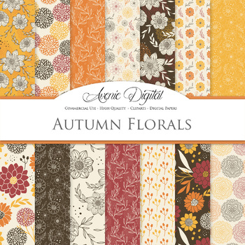 Autumn - fall floral Digital Paper patterns - flower backgrounds