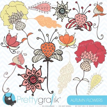 Autumn flowers clipart commercial use, vector graphics, di