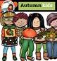 Autumn kids clip art -Color and B&W-