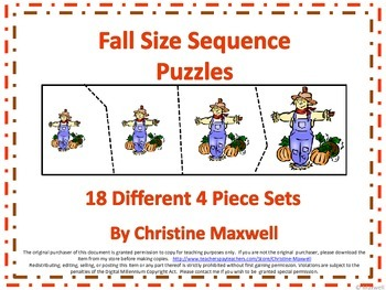 Autumn or Fall Size Sequence Puzzles 18 Sets of 4 Picture Puzzles