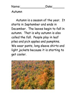 Autumn/Fall Reading Comprehension Packet