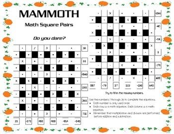 Thanksgiving/Autumn Theme 6x6 Advanced Math Square Pair (B