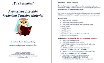 Avancemos 1 Leccion Preliminar Teaching Material