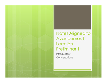 Avancemos 1 Lección Preliminar Notes