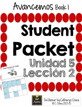 Avancemos 1 Unit 5 Lesson 2 Student Handouts & Notes