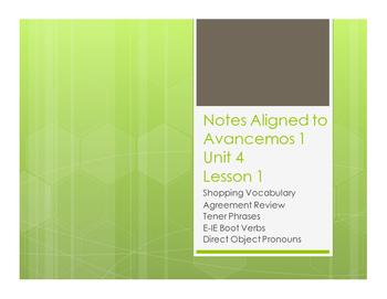 Avancemos 1 Unit 4 Lesson 1 Notes