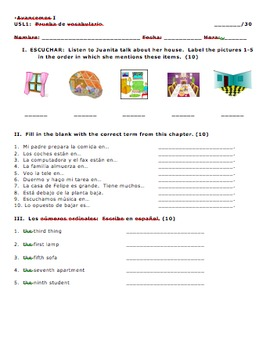 Avancemos 1 Unit 5 Lesson 1 Vocabulary and Numbers Quiz