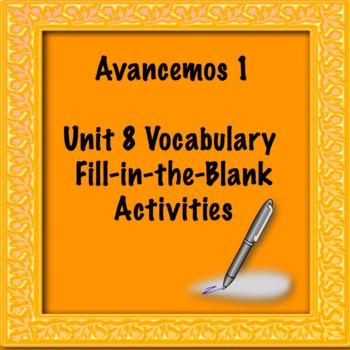 Avancemos 1 Unit 8 Vocabulary Activity
