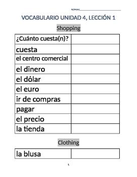 Avancemos 1A: Unit 4 Lesson 1 Vocab list