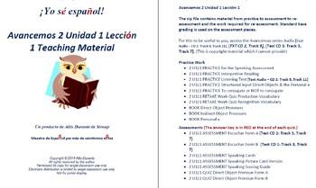 Avancemos 2 Unidad 1 Leccion 1 Teaching Material