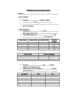 Avancemos 3.1.1 Irregular Preterites Fill-in-the-blank Notes