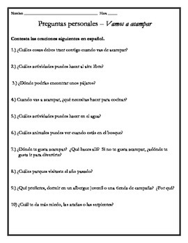Avancemos 3 - Unit 1 Lesson 1 Student Response Questions (
