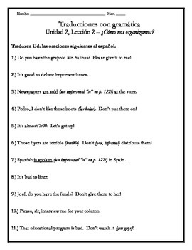 Avancemos 3 - Unit 2 Lesson 2 Translation Worksheet w/Gram