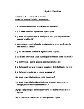 Avancemos 4 Oral Exam or Practice 50 questions Unidad1 thr