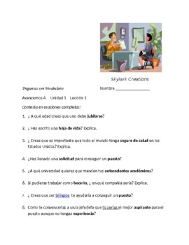 Avancemos 4 Unit 1 Lesson 1   Packet of 3  exercises using