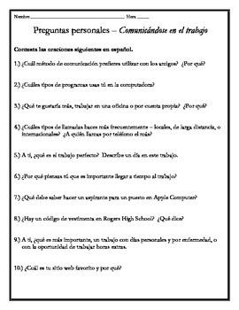 Avancemos 4 - Unit 1 Lesson 2 Student Response Questions w