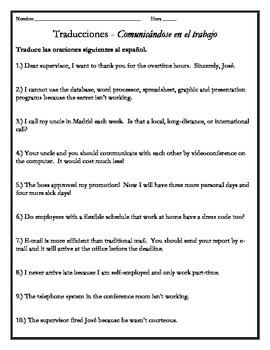 Avancemos 4 - Unit 1 Lesson 2 Translations Worksheet with
