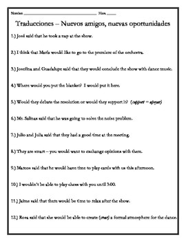 Avancemos 3 - Unit 5 Lesson 2 Translations Worksheet with