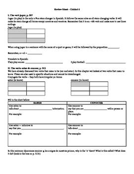Avancemos (Book 1) Unidad 6 Review Sheet