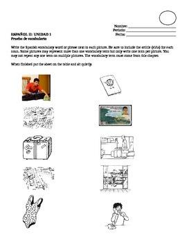 Avancemos II Unidad 1 Vocabulary Quiz