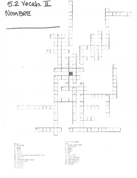 Avancemos Level 2 Unit 5 Lesson 2 Vocab. Crossword
