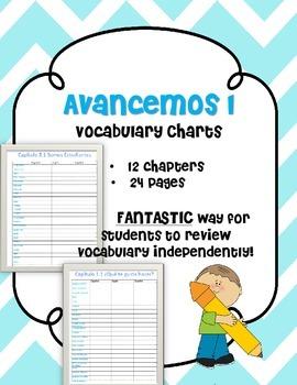 Avancemos Spanish Vocabulary Charts