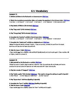 Avancemos 1 Unit 6 lesson 1 Vocabulary Internet Activities