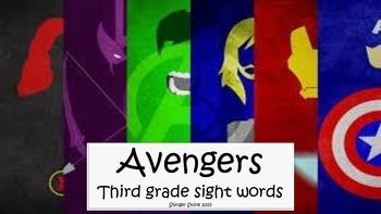 Avengers super hero third grade sight words