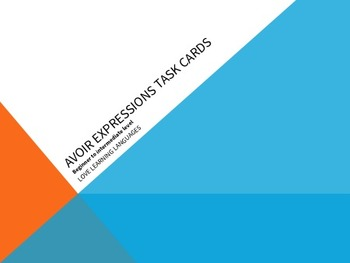 Avoir Expressions Task Cards - Beginner French Level - Car