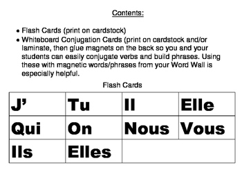 Avoir Flash Cards and Whiteboard Conjugation Cards
