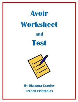 Avoir Worksheet and Test