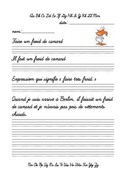 Écriture cursive - Avoir un froid de canard
