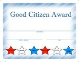 Award Certificate  -  Good Citizen