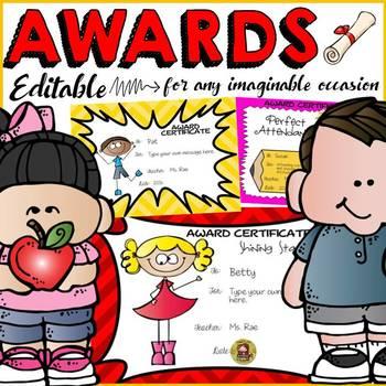 AWARDS: EDITABLE AWARDS