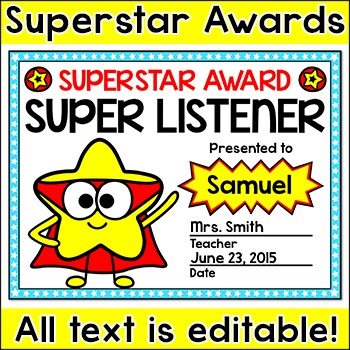 End of the Year Awards - Superstar Superhero Theme