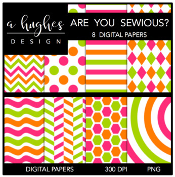 Awe You Sewious? {12x12 Digital Papers for Commercial Use}