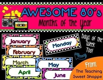 Awesome 80s Months of the Year & Days of the Week