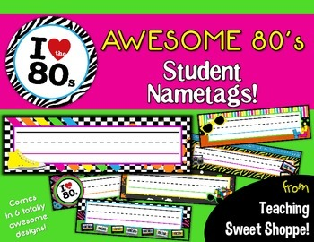 Awesome 80's Student Name tags