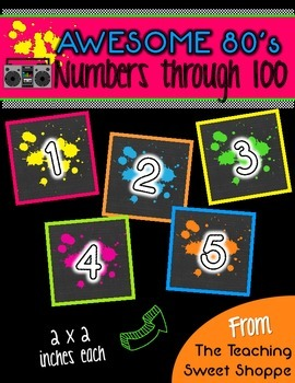 Awesome 80s Student Numbers 1-100