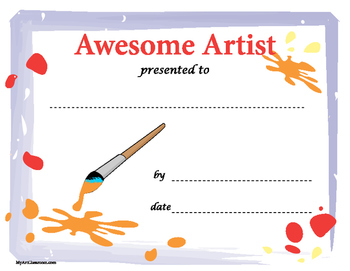Awesome Artist Certificate Download