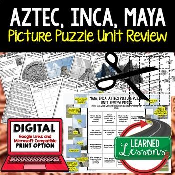 Aztec, Inca, Maya Picture Puzzle Unit Review, Study Guide,