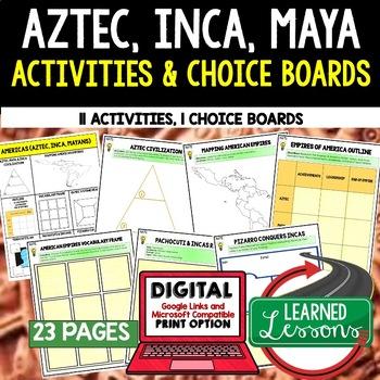 Aztec, Mayan, Incan Choice Board Activities (Paper and Goo