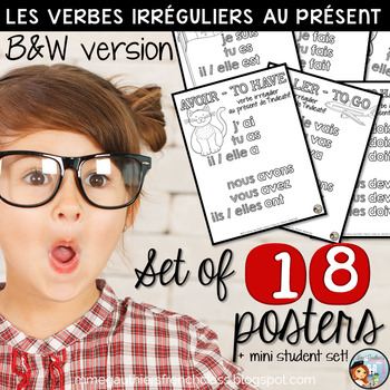 B&W FRENCH IRREGULAR VERB POSTERS - LE PRÉSENT