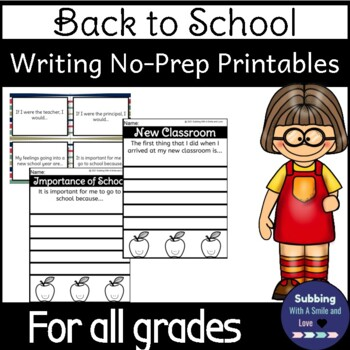 Back to School Writing Fun Pack: 1st Grade