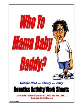 SALE  $4.50 Who Yo Mama BABY DADDY?   WORKSHEETS  -  GENET