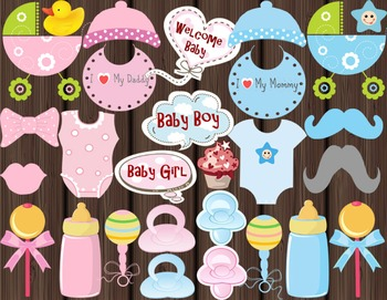 BABY SHOWER Photo booth Props Baby Beanie, Dummies/Pacifie