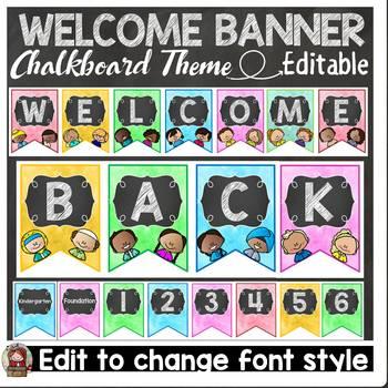 BACK TO SCHOOL CLASS DECOR {CHALKBOARD WELCOME BUNTING FLA