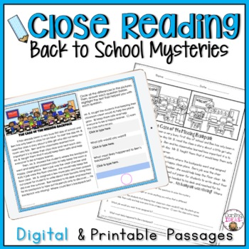 BACK TO SCHOOL CLOSE READING  MYSTERY PASSAGES